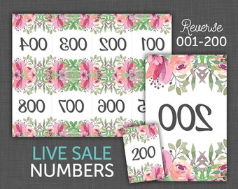 Live Sale Numbers, Facebook Live, Number Cards, Reverse Numbers, 001-200 - Floral