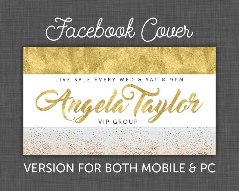Custom Facebook Cover, Facebook Banner, Gold Foil, Facebook, Timeline Cover