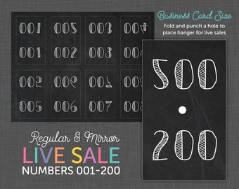 Live Sale Number Cards, Reverse Numbers, roe, - Numbers 001 - 200