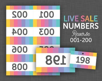 Live Sale Numbers, Reverse Number Cards, Facebook Live, Reverse Numbers 1-200