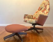 Mid Century Adrian Pearsall Atomic Fabric Pink Lounge Chair and Ottoman