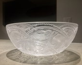 Lalique French Art Glass Pinsions Bird Bowl