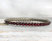 Antique Victorian Rose Cut Garnet Silver Hinged Bracelet with Chain