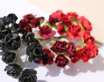 Paper roses, paper flowers, 1 bunches 9/16 inches Artificial Flowers | Rose Decor Floral Hair Accessories | Bridal Decoration | Fake Flowers