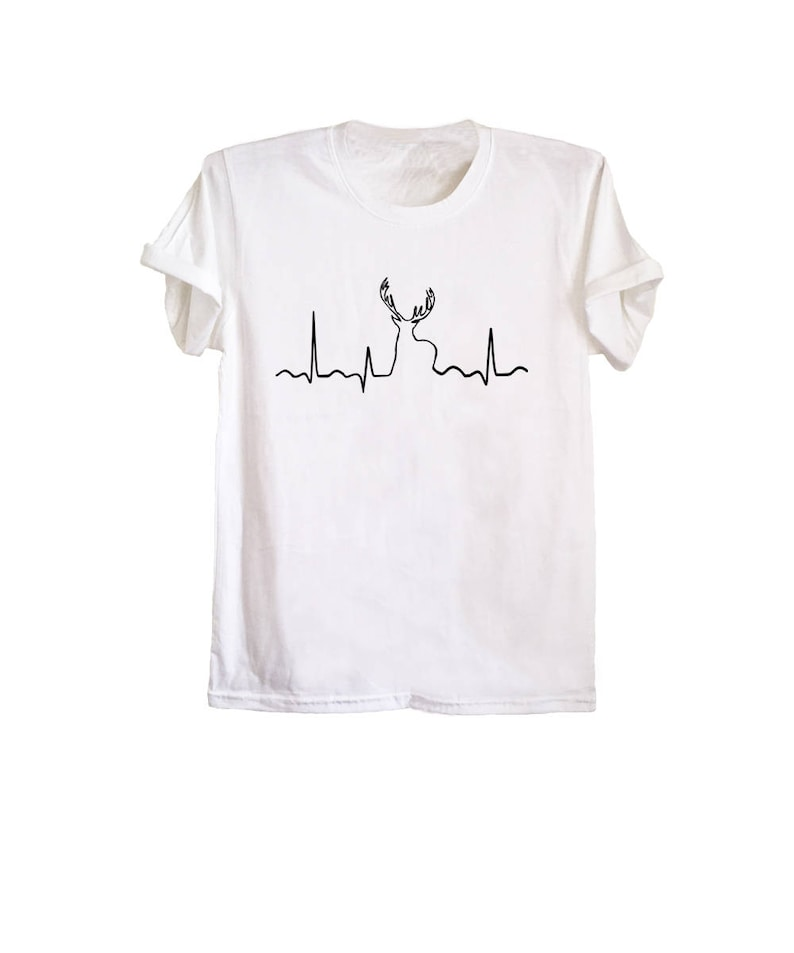 71cd4458 Deer shirts for men heartbeat print tee deer hunting shirt   Etsy