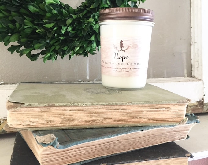 Farmhouse Hope Candle/Summer candle scent/essential oil candle/ All -Natural Soy Candle//Farmhouse decor