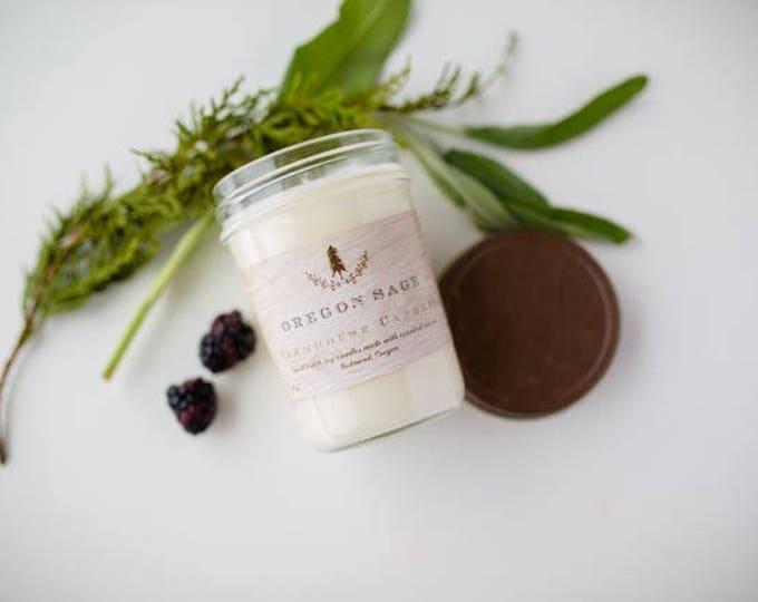 Farmhouse Oregon Sage candle//All-Natural Soy candle// Farmhouse Decor// Essential oil Candle