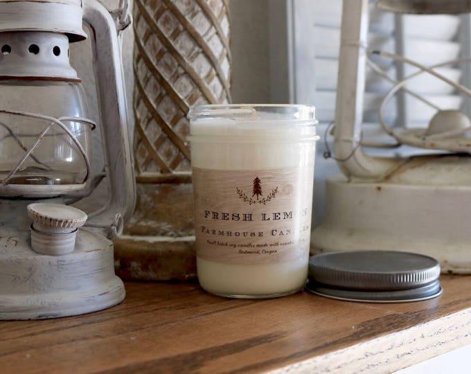 Fresh Lemon soy wax Candle/Lemon verbena/lemon essential oil candle/farmhouse candle//farmhouse decor//All-natural candle
