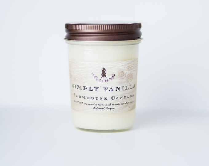 Farmhouse Simply Vanilla Soy Candle//All-Natural soy candle// Farmhouse decor