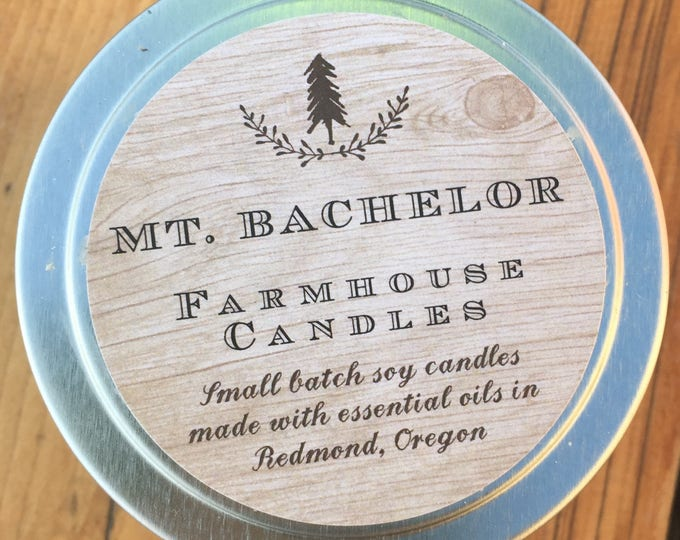 Farmhouse 4oz soy wax  essential oil candle//4oz tin//All-Natural soy candle//Home Decor/Pine scented candle/citrus scented candle/
