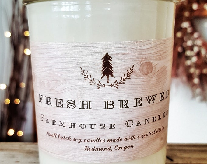 Farmhouse Fresh Brewed candle//All-Natural Soy candle// Farmhouse Decor// Essential oil Candle