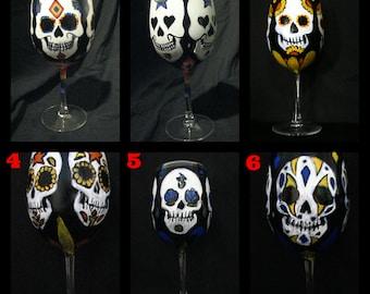Hand-painted Sugar Skull Wine Glass