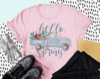 47c8c27a Hello Spring T-shirt, Vintage Flower Truck Graphic Tee, Cute Spring T-shirt,  Short-Sleeve Unisex T-Shirt