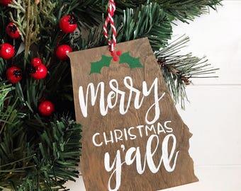 alabama christmas ornament merry christmas yall christmas in dixie home state ornament custom ornament wood state ornament - Christmas In Dixie