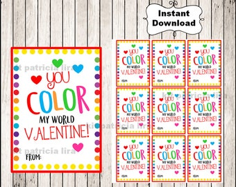 photograph about You Color My World Printable identify Oneself color my world wide Etsy