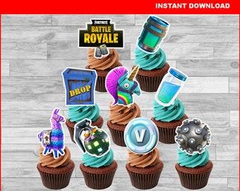 fortnite birthday fortnite cupcakes toppers printable toppers boogie bomb llama chug jug mini shield v bucks instant download - diy fortnite cupcakes