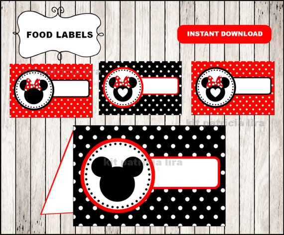 Minnie Mouse Food Labels Instant Download