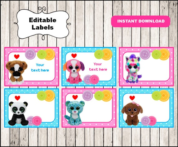 Beanie Boo School label name label name tag sticker Back  f82f1ac8359