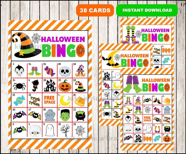 image about Printable Halloween Bingo Cards referred to as Printable 30 Halloween Bingo Playing cards; printable Halloween Bingo recreation, Halloween printable bingo playing cards immediate down load