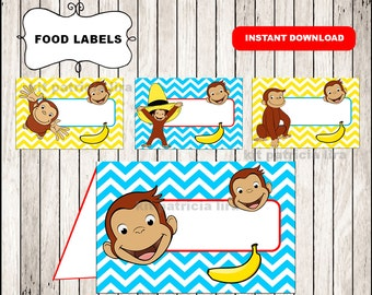 Curious George food labels instant download , Curious George food tent cards, Printable Curious George party food table labels
