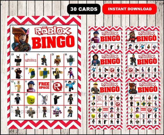 Roblox Bingo Game Printable 30 Different Cards Party Etsy