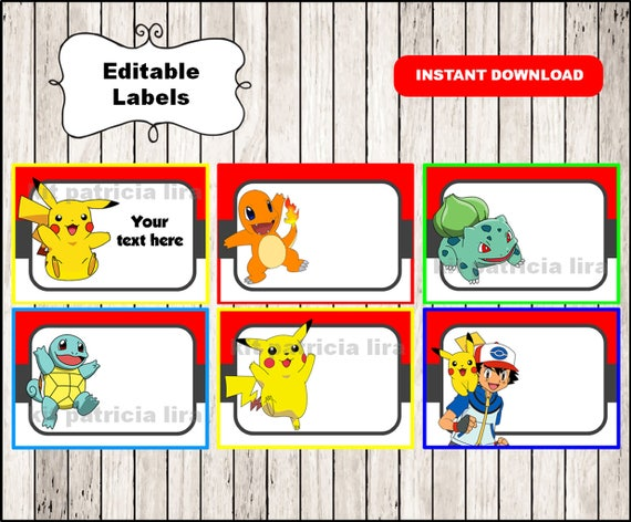 graphic about Pokemon Printable Cards referred to as Pokemon Printable Playing cards, tags, e-book labels, stickers, little ones playing cards, reward tags, labeling, sbooking EDITABLE Instantaneous Down load