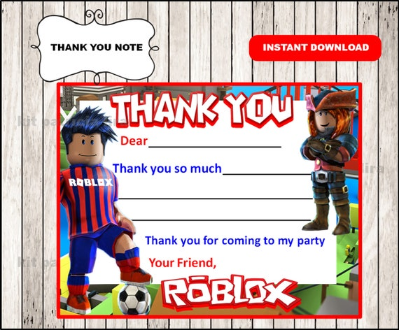Roblox Cards Roblox Thank You Tags Instant Download Etsy