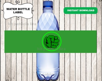 Hulk logo water labels instant download , Hulk water bottle labels, Printable Hulk Bottle labels
