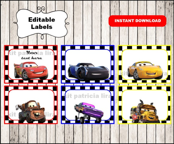 Disney Cars 3 Printable Cards Tags Book Labels Stickers Etsy