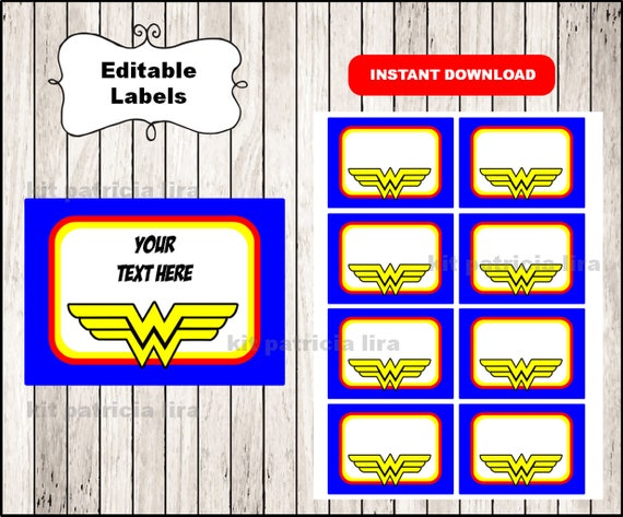 photo about Wonder Woman Printable Logo identified as Surprise Lady emblem Printable Playing cards, tags, guide labels, stickers, young children playing cards, present tags, labeling, sbooking EDITABLE Quick Down load