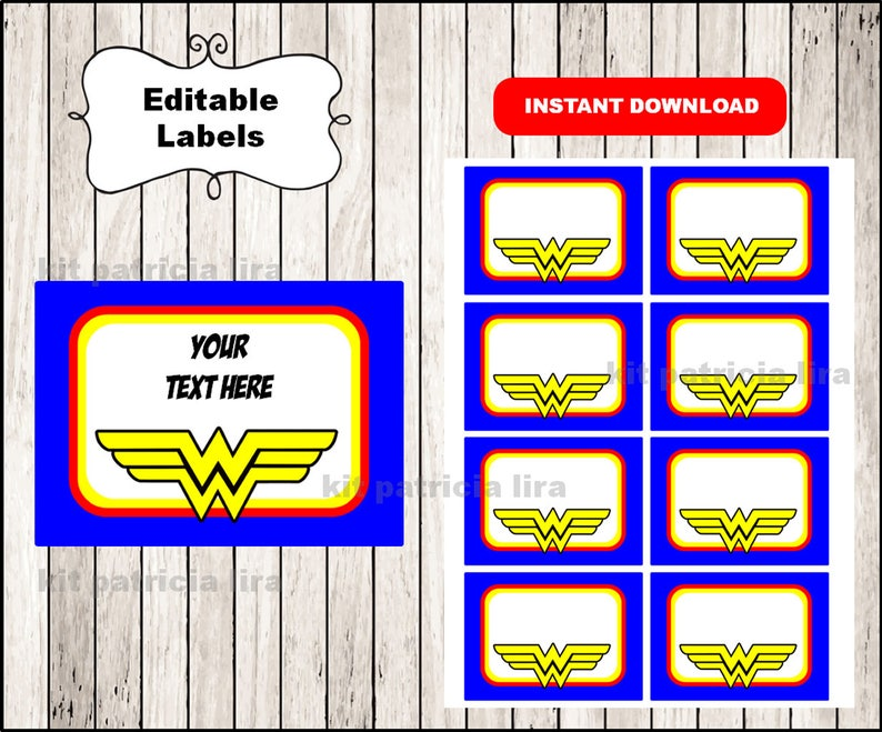 graphic about Wonder Woman Logo Printable referred to as Ponder Girl emblem Printable Playing cards, tags, ebook labels, stickers, little ones playing cards, present tags, labeling, sbooking EDITABLE Fast Down load