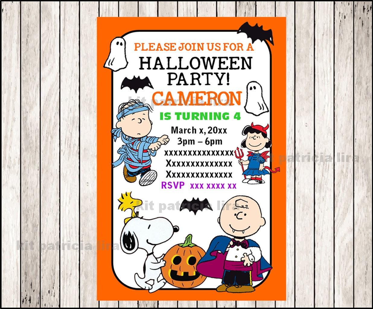 Peanuts Halloween Invitation Printable Charlie Brown party | Etsy