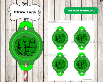 Hulk logo Straw tags instant download , Hulk Straw tags, Hulk party straw tags