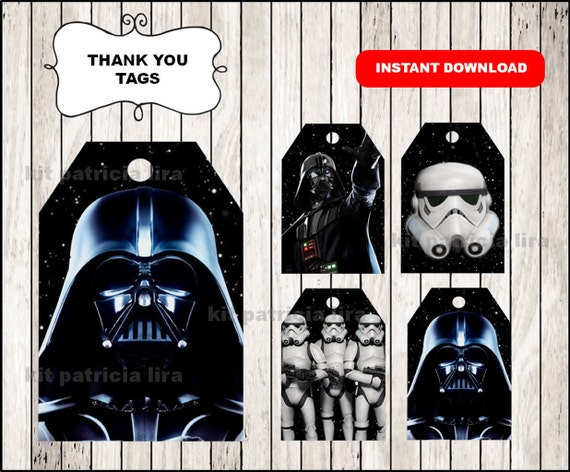 image relating to Darth Vader Printable named Darth Vader Thank your self Tags quick obtain , Star Wars Thank by yourself Tags, Printable Star Wars celebration tags