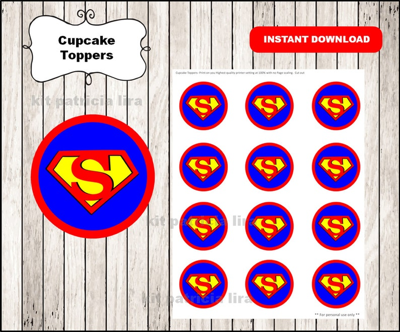 picture regarding Printable Superman Logo called Superman symbol toppers immediate down load , Superman cupcakes toppers labels, Printable Superman toppers