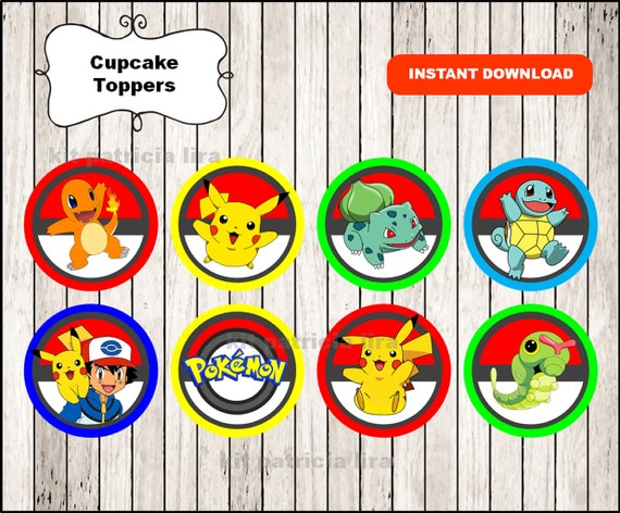 photo relating to Pokemon Cupcake Toppers Printable called Pokemon toppers prompt obtain , Pokemon cupcakes toppers labels, Printable Pokemon social gathering toppers