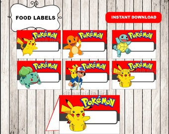 Pokemon food labels instant download , Pokemon food tent cards, Printable Pokemon party food table labels