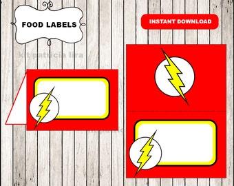 The flash logo food labels instant download , The flash food tent cards, Printable The flash food table labels