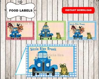 Little Blue Truck food labels instant download , Little Blue Truck food tent cards, Printable Little Blue Truck party food table labels
