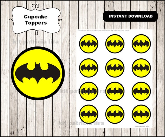 graphic relating to Batman Cupcake Toppers Printable identified as Batman emblem toppers immediate down load , Batman cupcakes toppers labels, Printable Batman toppers