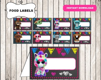 Beanie Boo Chalkboard Food Tent Cards instant download, Printable Beanie Boo party Food labels, Beanie Boo Food table labels