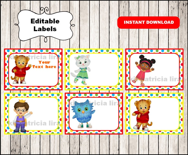 picture about Tigers Printable Schedule referred to as Daniel tigers Printable Playing cards, tags, ebook labels, stickers, young children playing cards, reward tags, labeling, sbooking EDITABLE Fast Obtain