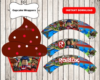 Roblox cupcakes wrappers, printable Roblox party cupcakes wrappers, Roblox wrappers
