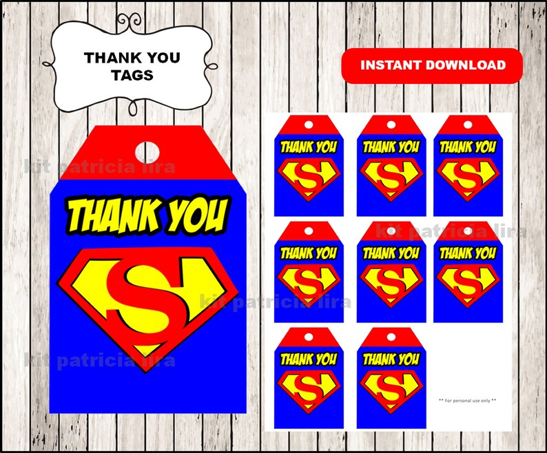 photo relating to Printable Superman Logo named Superman brand Thank on your own Tags instantaneous down load , Superman Thank your self Tags, Printable Superman tags