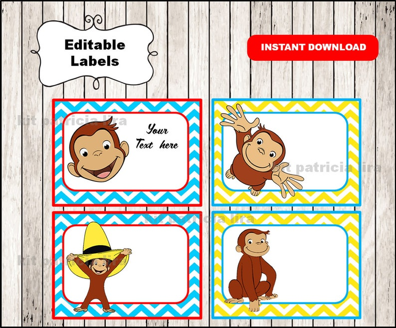 picture relating to Curious George Printable named Curious George Printable Playing cards, tags, guide labels, stickers, small children playing cards, reward tags, labeling, sbooking EDITABLE Prompt Down load