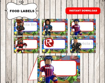 Roblox food labels instant download , Roblox food tent cards, Roblox party food labels