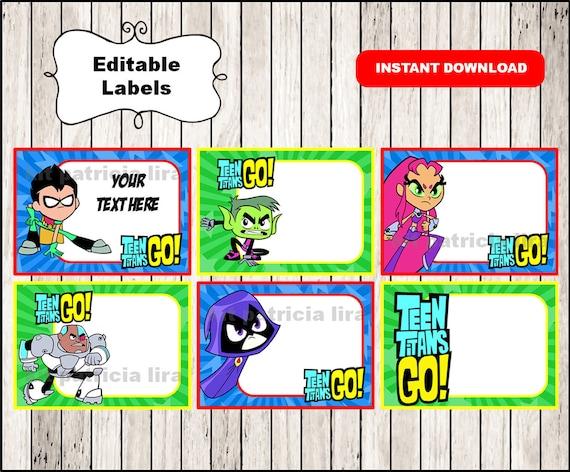 Teen Titans Go School Label Name Label Name Tag Sticker  Etsy-6139