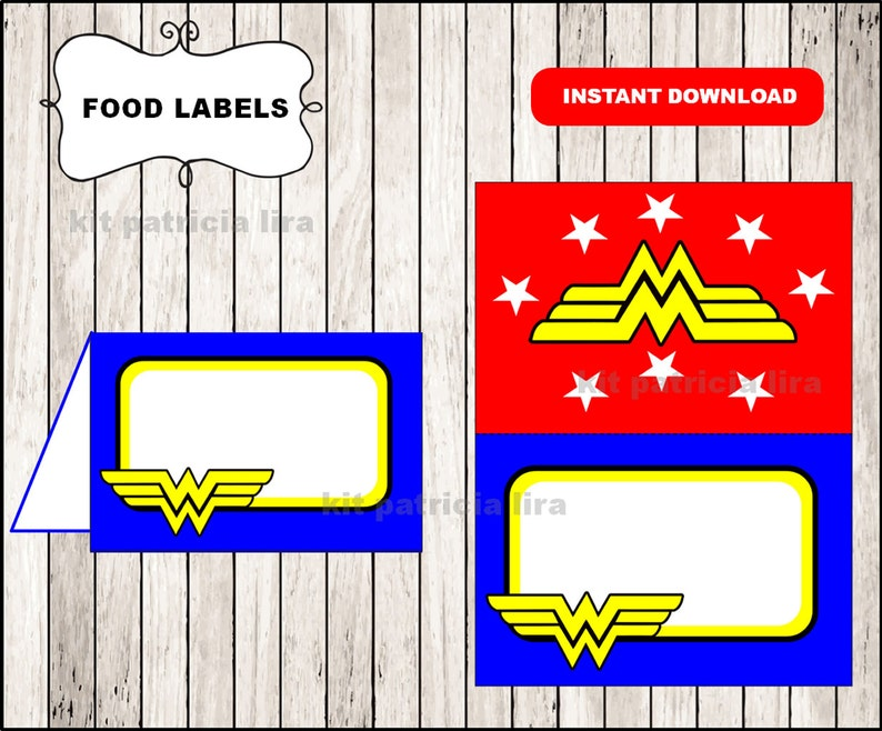 photo regarding Wonder Woman Logo Printable titled Ponder Lady symbol food stuff labels instantaneous down load , Ponder Lady food items tent playing cards, Printable Surprise Lady food stuff desk labels