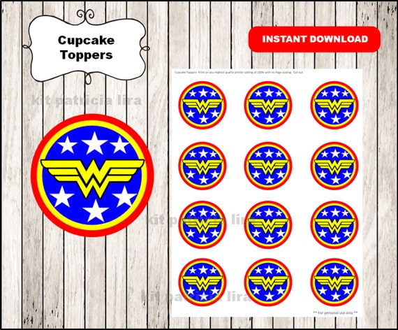 image about Wonder Woman Logo Printable identified as Marvel Female brand toppers quick obtain , Marvel Girl cupcakes toppers labels, Printable Marvel Lady toppers