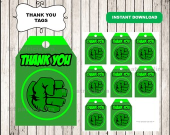 Hulk logo Thank you Tags instant download , Hulk Thank you Tags, Printable Hulk tags